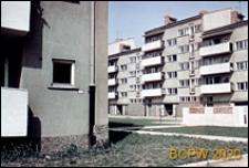 Stare Miasto, osiedle Nowy Targ, budynek nr 9-14, widok od strony podwórza oraz fragment elewacji drugiego bloku, Wrocław