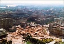 Śródmieście, budowa ronda przy Alejach Jerozolimskich i ulicy Marszałkowskiej, widok z góry, Warszawa