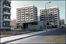 Osiedle mieszkaniowe Wierzbno, widok ogólny budynków mieszkalnych z pawilonem usługowo-handlowym, Warszawa