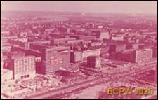 Ściana Wschodnia, widok z Pałacu Kultury i Nauki, skrzyżowanie ulicy Marszałkowskiej i Alej Jerozolimskich, panorama, Warszawa