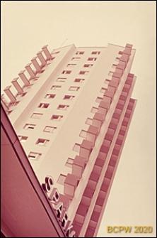 Osiedle mieszkaniowe Hirzenbach, wieżowiec mieszkalny, górna część elewacji budynku, Zurych, Szwajcaria
