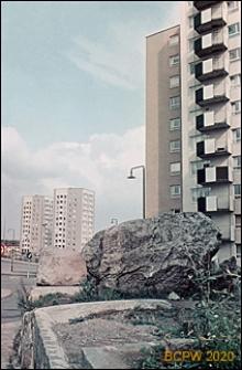 Centralna część dzielnicy, wieżowce mieszkalne, widok ogólny, Sztokholm-Vällingby, Szwecja