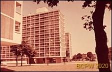Osiedle mieszkaniowe Loughborough Road Estate, ciąg wieżowców mieszkalnych, widok ogólny, Londyn, Wielka Brytania