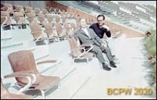 Welodrom, architekt włoski Dagoberto Ortensi z architektem polskim Tadeuszem Baruckim na trybunie głównej, Rzym, Włochy