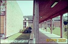 Ośrodek sportowy Acqua Acetosa, pergola oraz elewacja boczna pawilonu z cegły, Rzym, Włochy