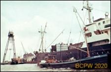 Port nad brzegiem dawnej zatoki IJ oraz Kanału Morza Północnego, statki portowe, Amsterdam, Niderlandy