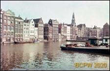 Port przy dworcu kolejowym, widok zabudowy nabrzeża, Amsterdam, Niderlandy