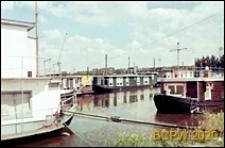 Domki pływające na barkach, widok zewnętrzny, Amsterdam, Niderlandy