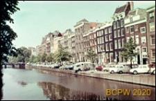 Nabrzeże Kanału Keizersgracht, fragment zabudowy, Amsterdam, Niderlandy