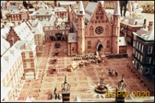 Park miniatur Madurodam, miniatura sali rycerskiej Ridderzaal na dziedzińcu Binnenhof w Hadze, Haga, Niderlandy