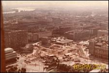 Budowa ronda na skrzyżowaniu ulicy Marchlewskiego i Alej Jerozolimskich, widok z Pałacu Kultury i Nauki, Warszawa