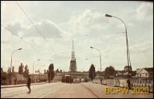 Widok od strony mostu w kierunku wieży Międzynarodowych Targów Poznańskich, Poznań