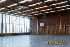 Uniwersytecka sala sportowa, wnętrze, widok na drabinki gimnastyczne, Oslo, Norwegia