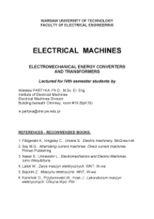 Electrical machines : electromechanical energy converters and transformers : lectured for IVth semestr students
