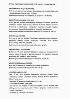 Wykaz profesorów i docentów Politechniki Warszawskiej zmarłych w latach 2000-2010