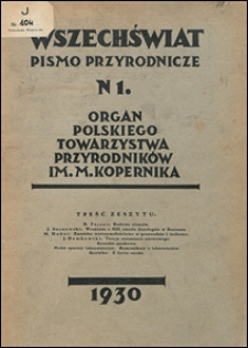 Wszechświat. Pismo przyrodnicze 1930 nr 1