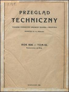 Przegląd Techniczny 1926 spis rzeczy