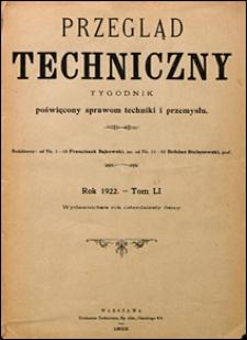 Przegląd Techniczny 1922 Spis rzeczy