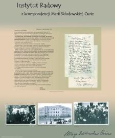 Instytut Radowy. Z korespondencji Marii Skłodowskiej-Curie