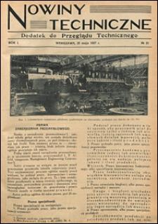 Nowiny Techniczne. Dodatek do Przeglądu Technicznego 1927 nr 21