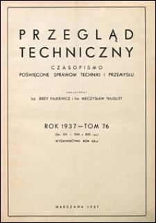 Przegląd Techniczny 1937 spis rzeczy