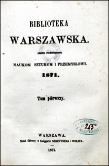 Biblioteka Warszawska 1871 t. 1