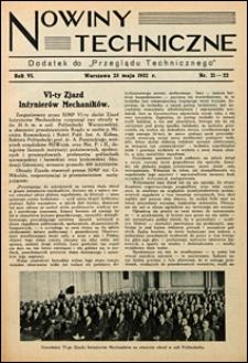 Nowiny Techniczne. Dodatek do Przeglądu Technicznego 1932 nr 21-22