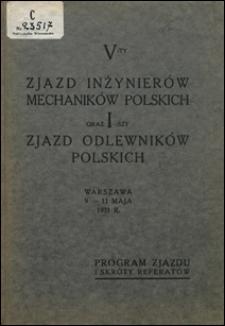 V-ty Zjazd Inżynierów Mechaników Polskich oraz I-szy Zjazd Odlewników Polskich, Warszawa 9-11 maja 1931 r.