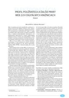 Profil používateľa a ďalšie prvky Web 2.0 v digitálnych knižniciach