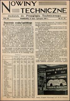 Nowiny Techniczne. Dodatek do Przeglądu Technicznego 1929 nr 31-36