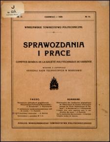 Warszawskie Towarzystwo Politechniczne. Sprawozdania i Prace 1929 nr 13