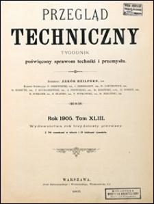 Przegląd Techniczny 1905 Spis artykułów