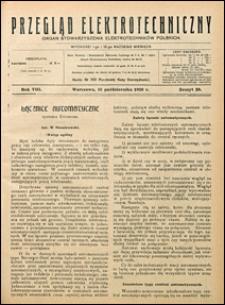 Przegląd Elektrotechniczny 1926 nr 20