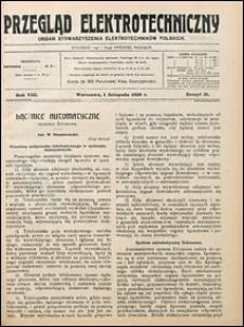 Przegląd Elektrotechniczny 1926 nr 21