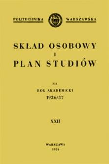 Skład osobowy i plan studiów na rok akademicki 1936/37