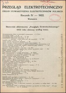 Przegląd Elektrotechniczny 1922 Skorowidz alfabetyczny