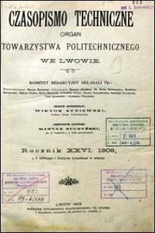 Czasopismo Techniczne 1908 Spis Rzeczy