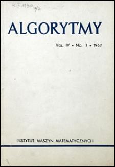 Algorytmy 1967 vol. 4 nr 7