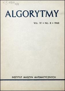Algorytmy 1968 vol. 4 nr 8