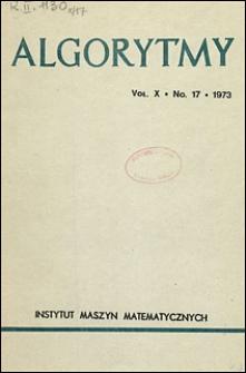 Algorytmy 1973 vol. 10 nr 17