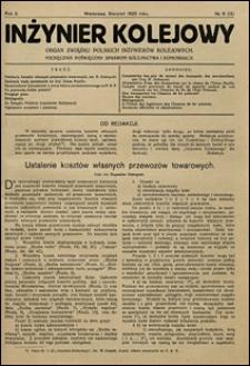 Inżynier Kolejowy 1925 nr 8