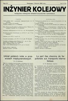 Inżynier Kolejowy 1930 nr 8