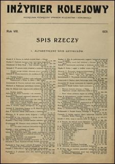 Inżynier Kolejowy 1931 spis rzeczy