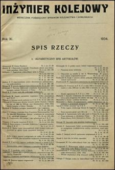 Inżynier Kolejowy 1934 spis rzeczy