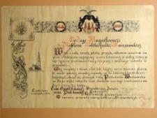 Adres gratulacyjny nowopowstałej Politechnice Warszawskiej od Towarzystwa Opieki Szkolnej Ziemi Piotrkowskiej, Częstochowa listopad 1915