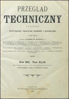 Przegląd Techniczny 1911 spis artykułów
