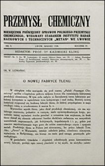 Przemysł Chemiczny 1920 nr 3