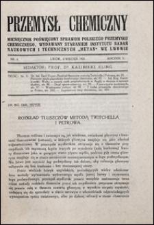 Przemysł Chemiczny 1921 nr 4