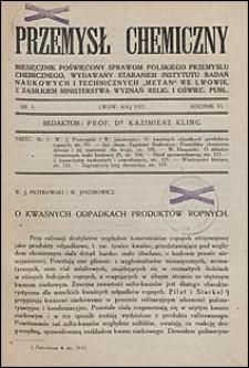 Przemysł Chemiczny 1922 nr 5