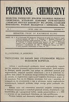 Przemysł Chemiczny 1922 nr 7